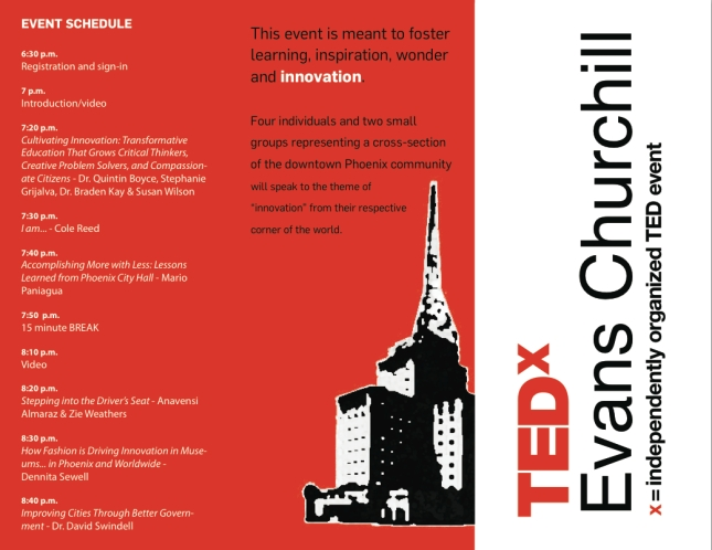 To RSVP, send an email to tedx@evanschurchill.org